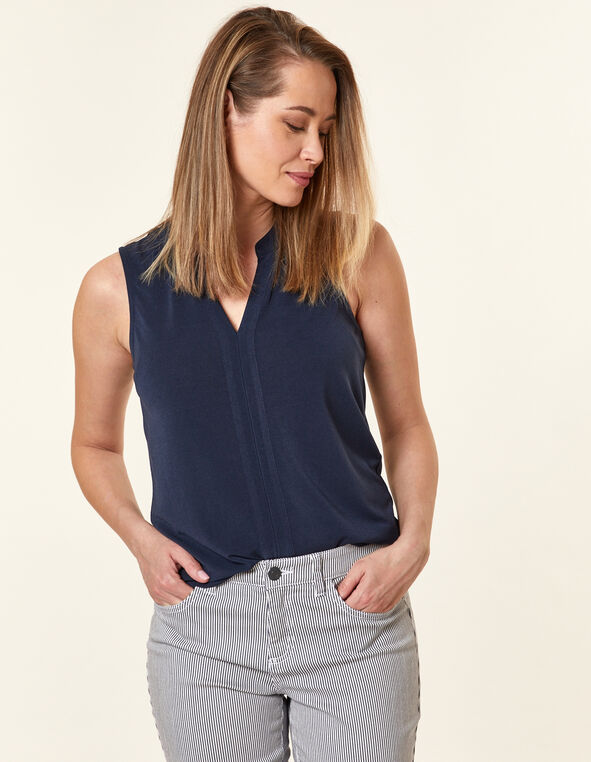 Navy Crepe Top, Navy, hi-res