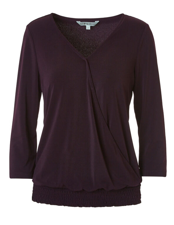Purple Crepe Wrap Front Top, Purple, hi-res