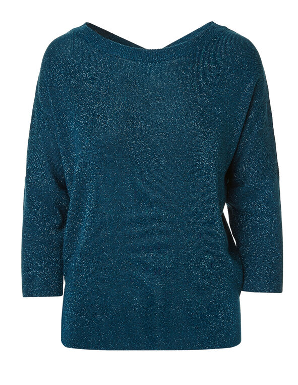 Teal Criss-Cross Lurex Sweater, Teal, hi-res