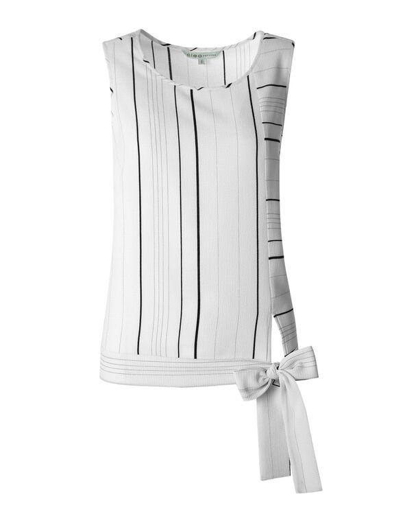 White Striped Tie Blouse, White, hi-res