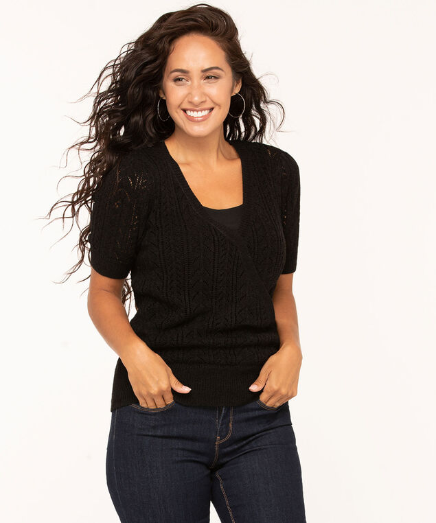 Black Wrap Front Pointelle Pullover, Black, hi-res