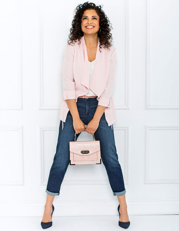 Pink Drape Jacket Look, , hi-res