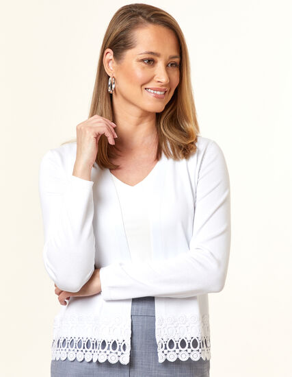 White Crochet Cardigan, White, hi-res