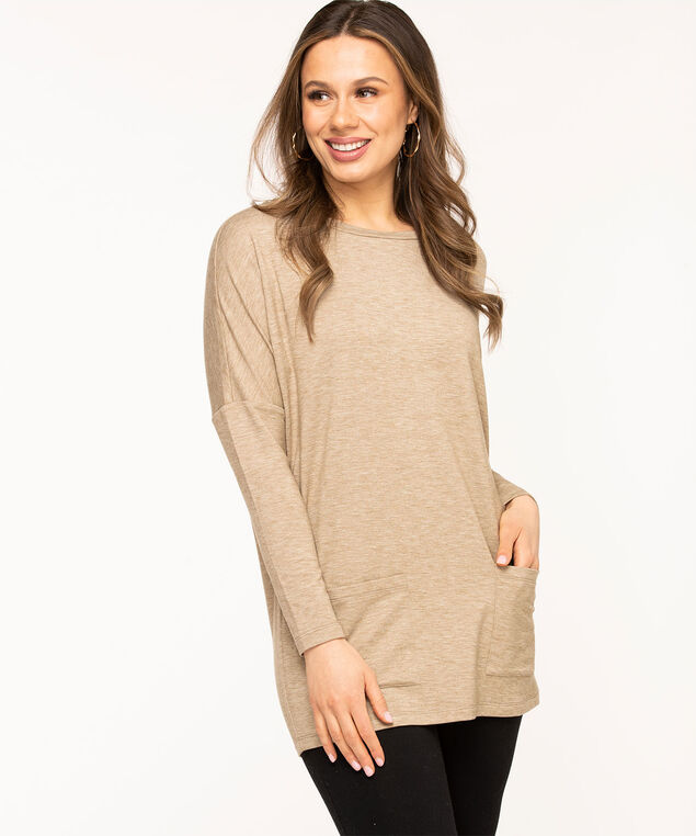 French Terry Long Sleeve Tunic, Sand Mix
