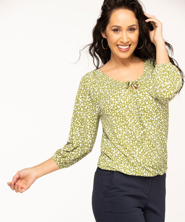 Shirred Neck Poet Sleeve Top, Avocado Floral
