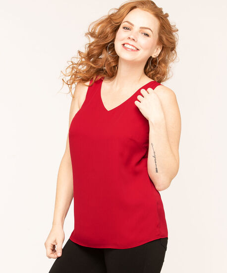 Sleeveless Woven Blouse, Md Red, hi-res