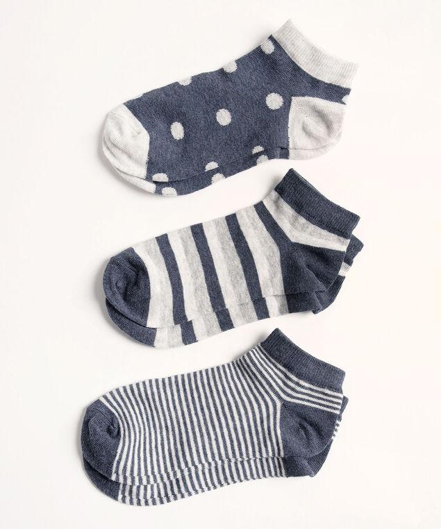 Navy/Grey Ankle Sock 3-Pack, Navy/Light Grey