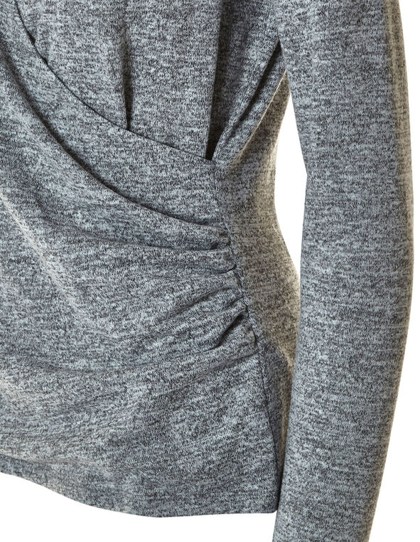 Grey Faux Wrap Front Hacchi Top, Grey, hi-res