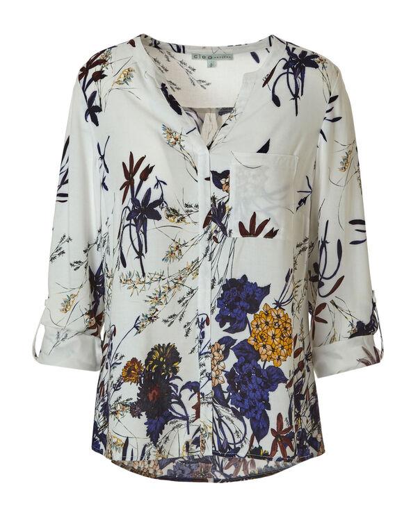 White Floral Button Front Blouse, White, hi-res