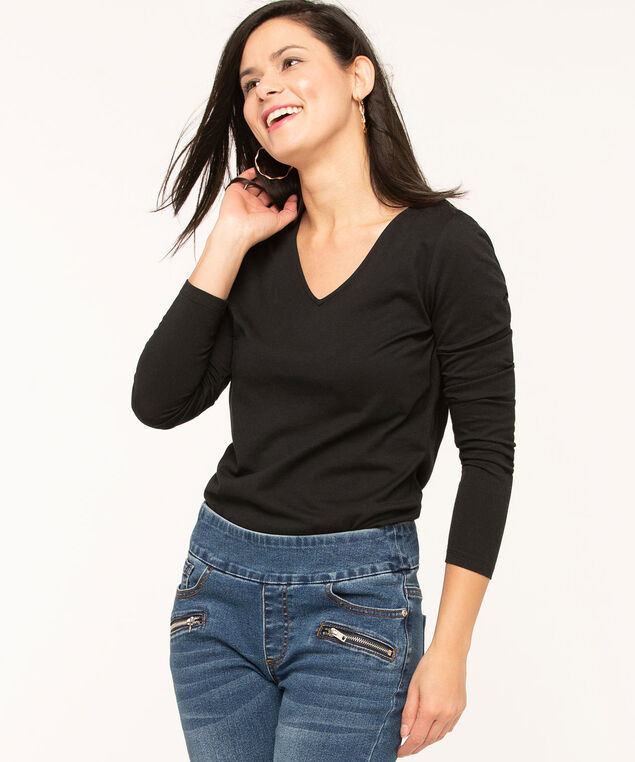 V-Neck Long Sleeve Tee, Black, hi-res