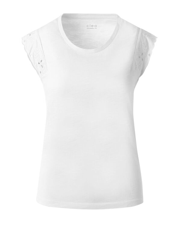 White Eyelet Cap Sleeve Cotton Tee, White, hi-res