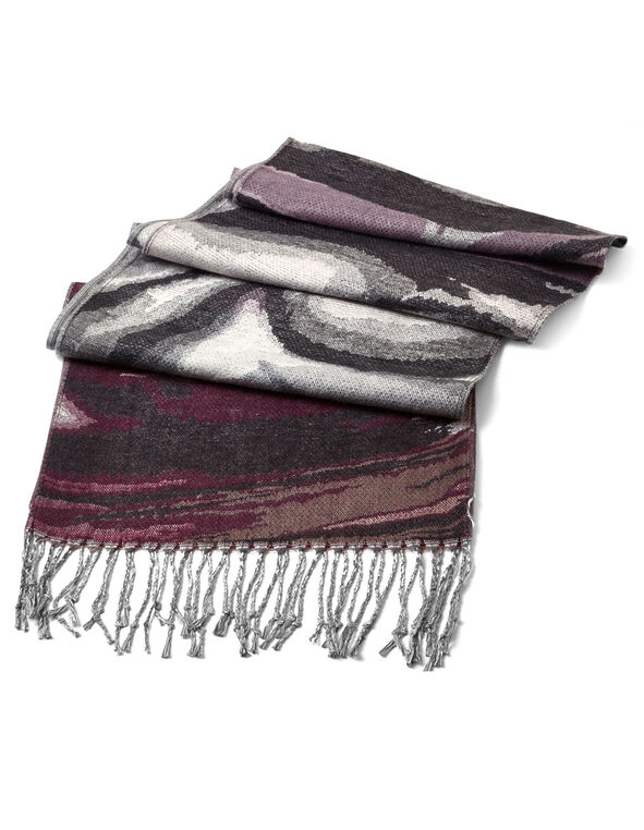 Purple Abstract Soft Woven Scarf, Purple, hi-res