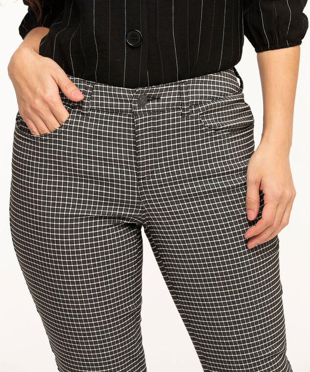 Plaid Curvy Butt Lift Ankle Pant, Black Plaid