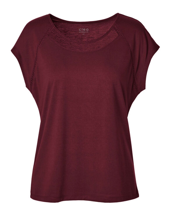 Wine Lace Detail Cap Sleeve Tee, Wine, hi-res