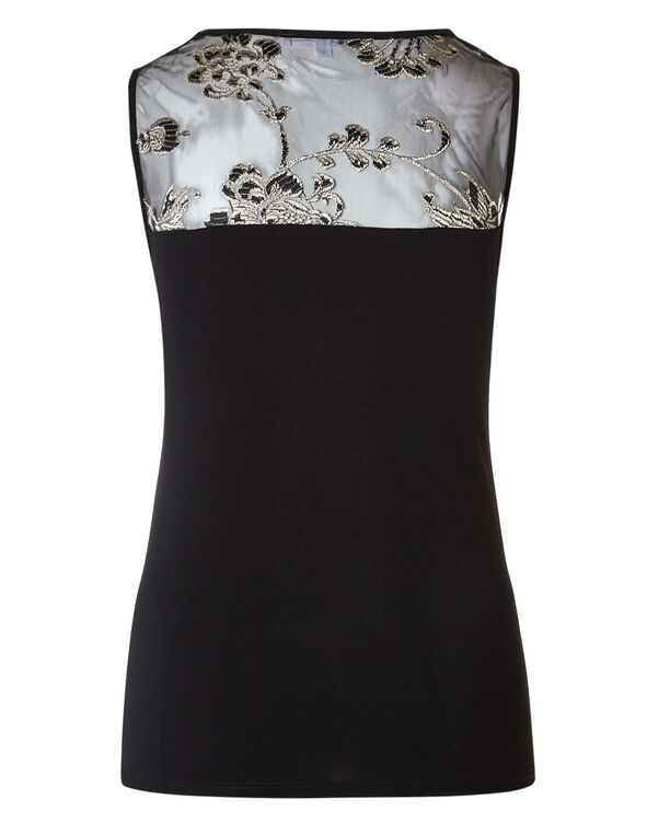 Gold Embroidered Mesh Illusion Top, Black/Gold, hi-res