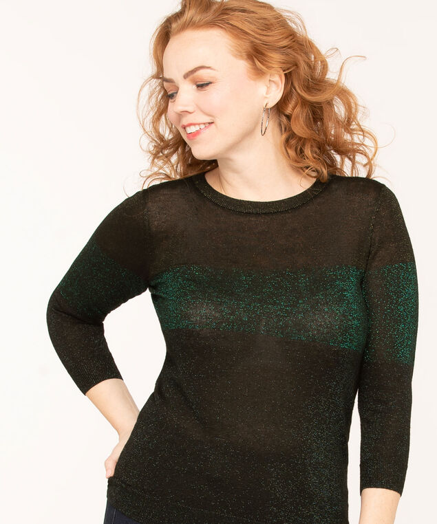 Black Metallic Colour Block Sweater, Black/Emerald Metallic