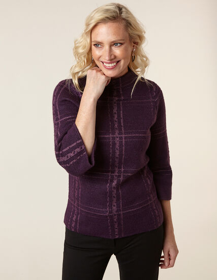 Purple Lurex Plaid Sweater, Dark Purple, hi-res