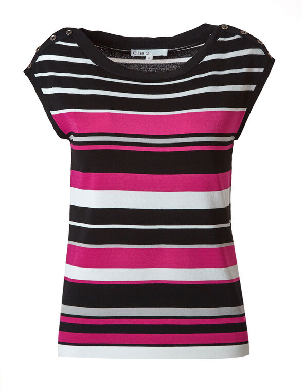 Pink Striped Sweater Top, Pink/White/Black, hi-res