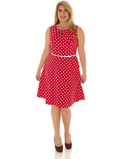 Hot Pink Dotted Fit & Flare Dress, Hot Pink, hi-res