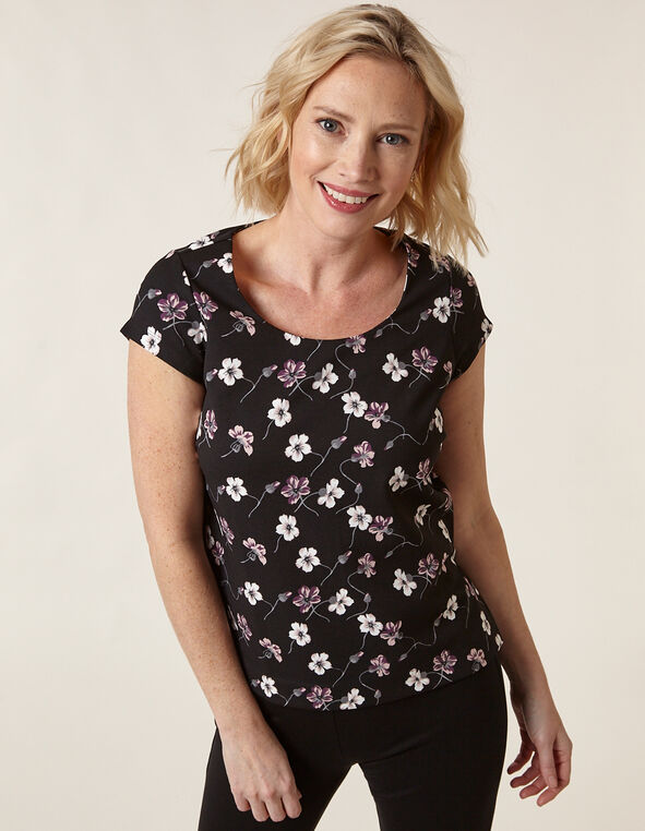 Floral Scuba Crepe Top, Black Pt, hi-res