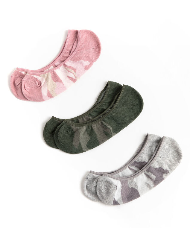 Camo No-Show Liner Sock 3-Pack, Olive/Pink/Grey Camo