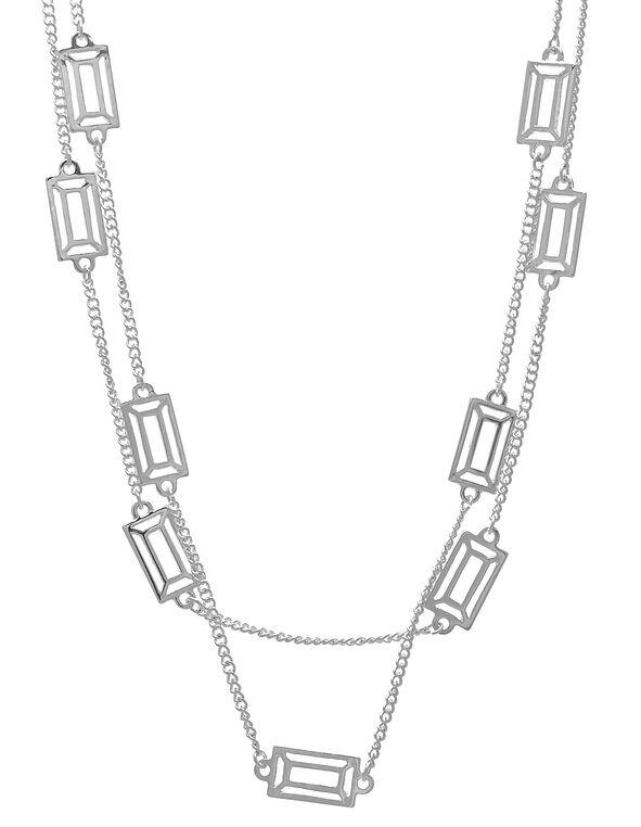 Silver Rectangular Long Necklace, Silver, hi-res
