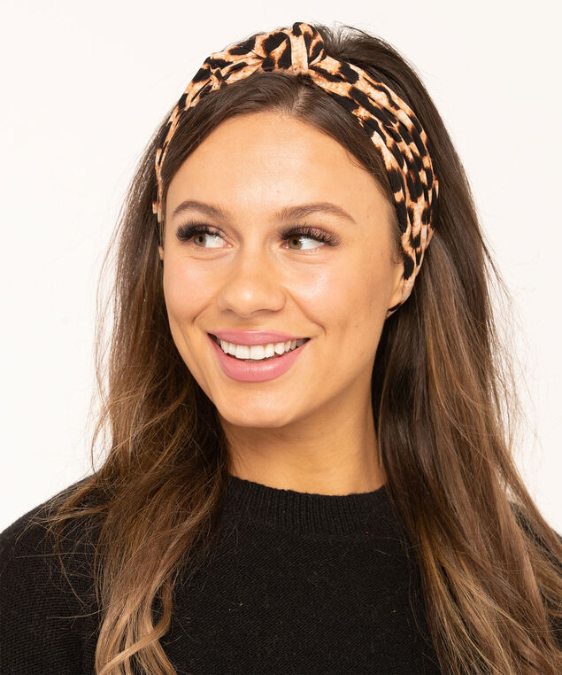 Leopard Print Mask & Hair Set, Camel/Black/Brown