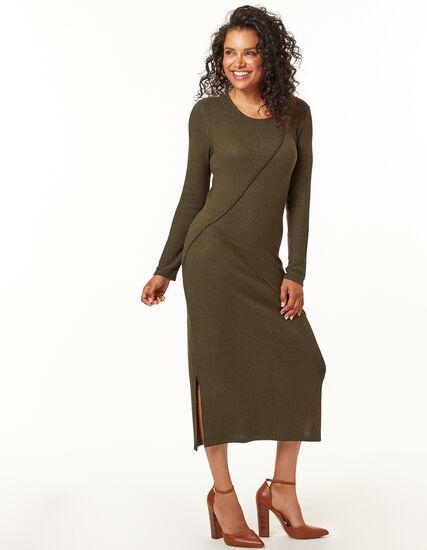 Olive Knit Dress, Loden/Olive, hi-res