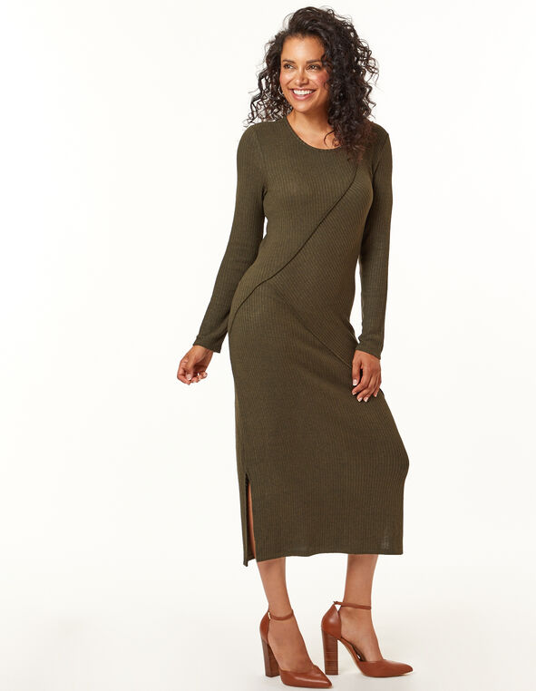 Olive Knit Dress, Loden/Olive, hi-res