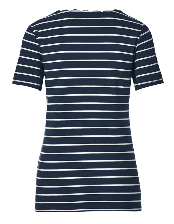 Navy Striped Scalloped Tee, Navy Stripe, hi-res