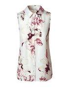 Ivory Floral Button Front Blouse, Ivory/Sangria, hi-res