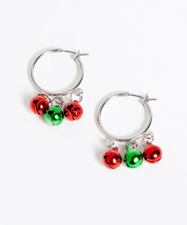 Silver Jingle Bell Hoop Earrings, Silver/Red/Green, hi-res