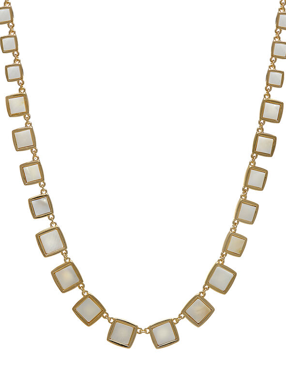 Gold Square Pearl Short Necklace, White, hi-res