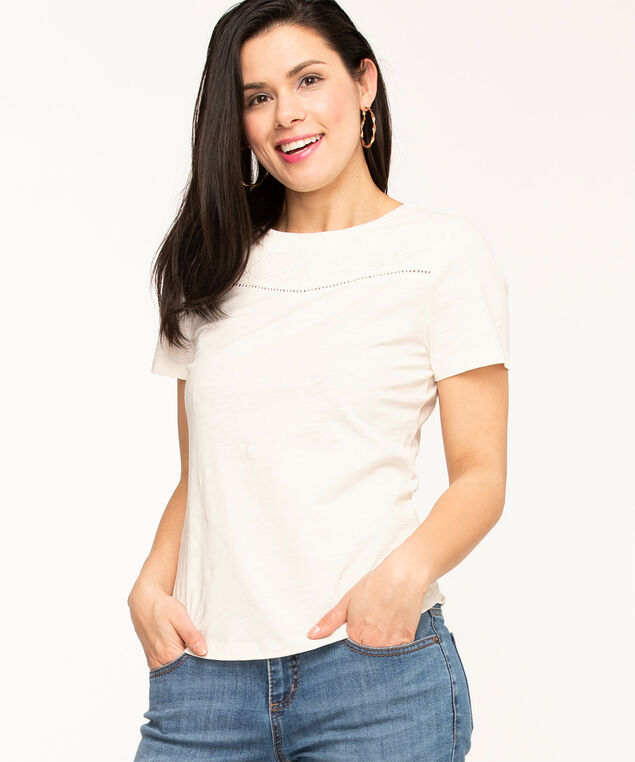 Lace Insert Cotton Tee, Ivory