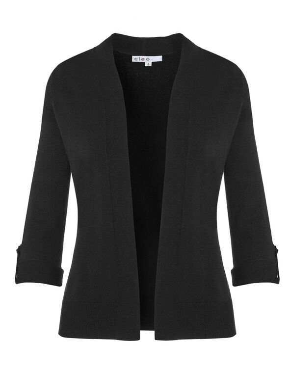 Black Mid Length Roll Cardigan, Black, hi-res
