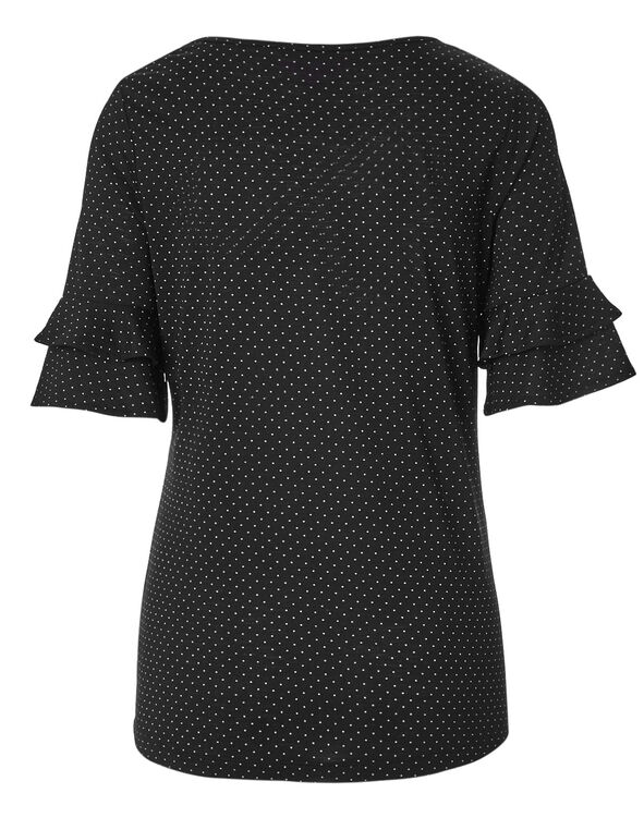 Black Dotted Bell Sleeve Top, Black/Ivory, hi-res