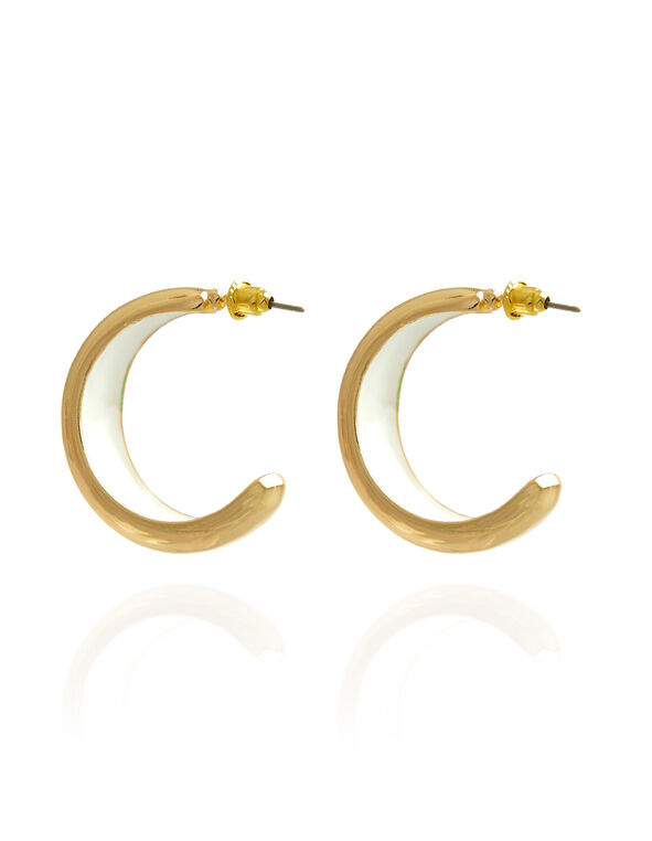 Golden Half Hoop Earrings, Gold, hi-res