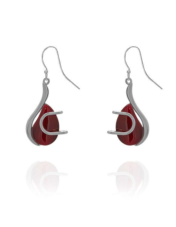 Red Artisinal Cat Eye Earring, Red, hi-res