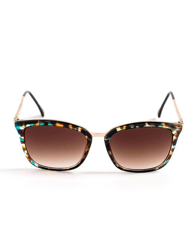 Brown Metal Frame Sunglasses, Brown/Teal/Gold