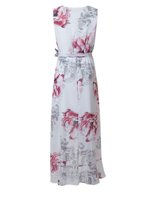 Pink Floral Chiffon Maxi Dress, White/Pink, hi-res