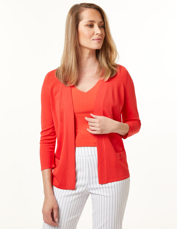 Cajun Pointelle Knit Cardigan, Cajun/Orange, hi-res