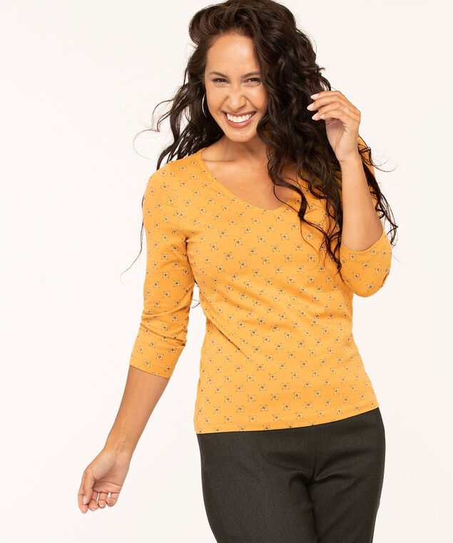 V-Neck 3/4 Sleeve Tee, Gold, hi-res