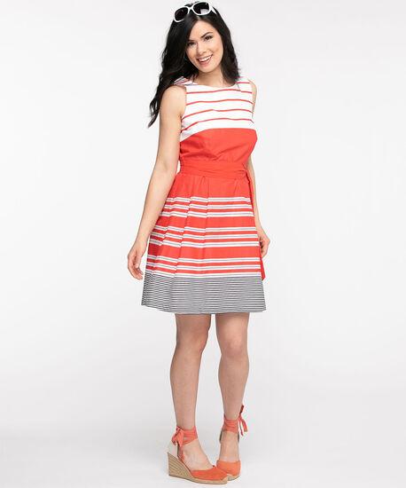 Orange Stripe Cotton Dress, Orange/Black/White, hi-res