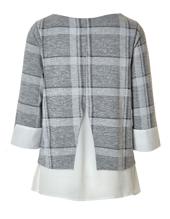 Grey Plaid Fooler Top, Grey, hi-res
