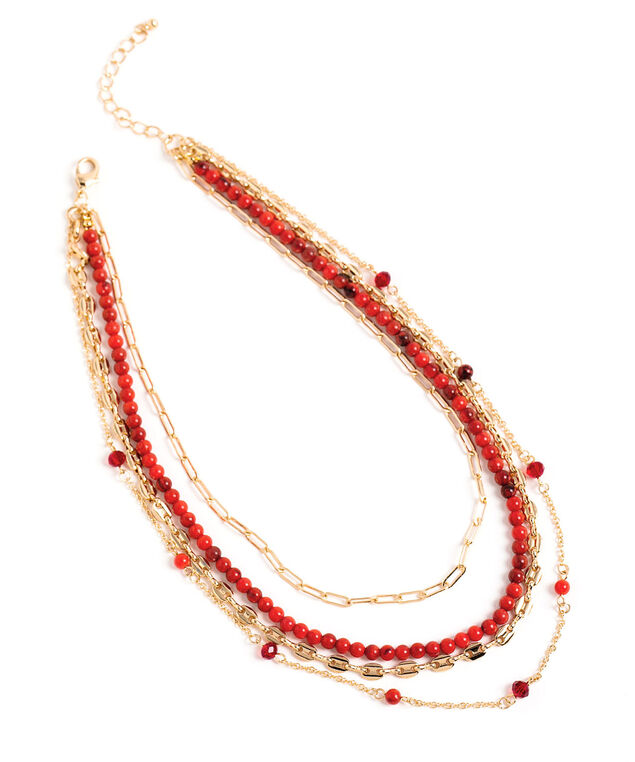 Ruby Beaded Layer Necklace, Ruby Red