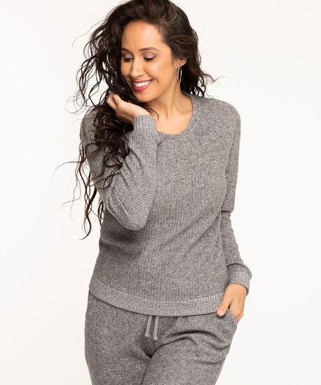 Lightweight Waffle Knit Top, Grey, hi-res
