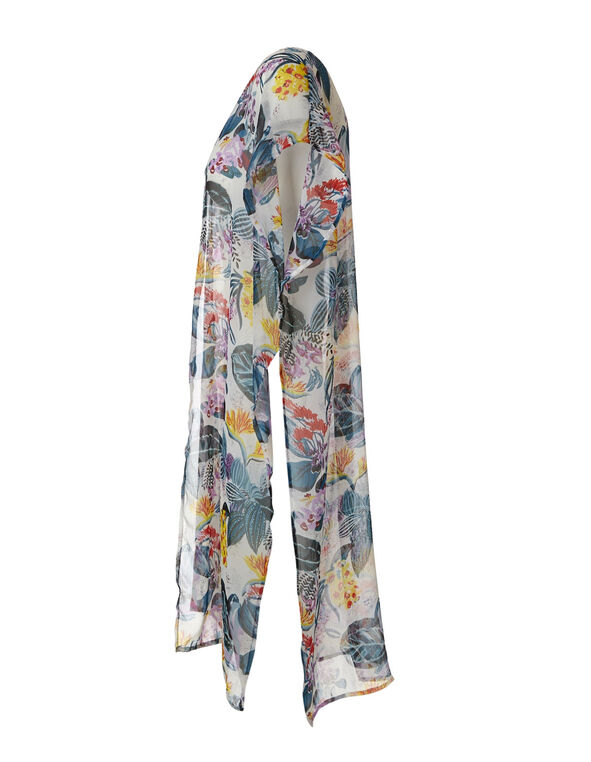 Tropical Floral Printed Kimono, Purple/Blue, hi-res