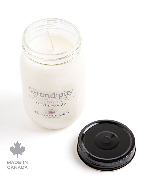 Amber & Vanilla Soy Candle, White