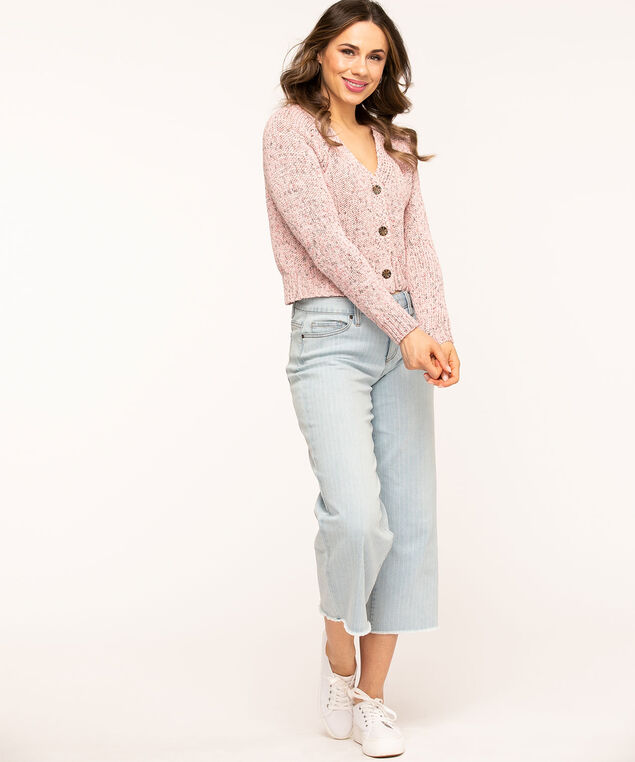 V-Neck Button Front Cardigan, Pink/Grey Mix