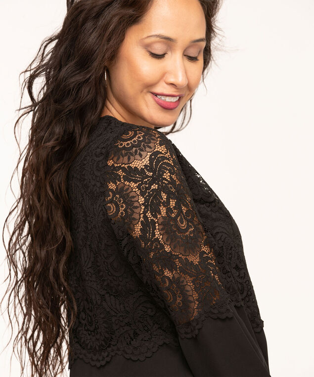 Lace Overlay Popover Blouse, Black, hi-res